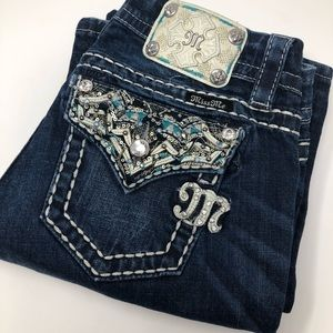 Miss Me Mid-Rise Easy Boot Dark Wash Blue Jeans